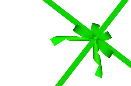 green ribbon: Gift green ribbon and bow isolated on white