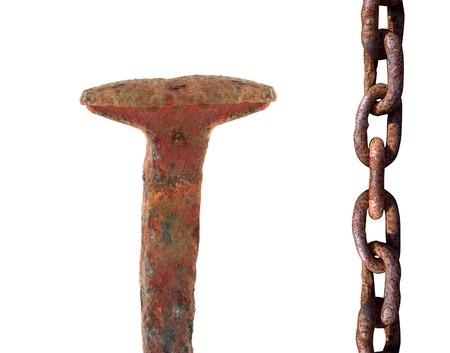 rusty nail: clavo oxidado y de la cadena Foto de archivo