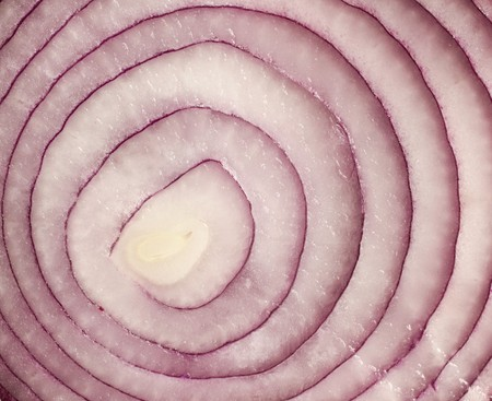 aftertaste: sliced red onion on white background