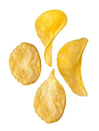 potato chips on white background photo