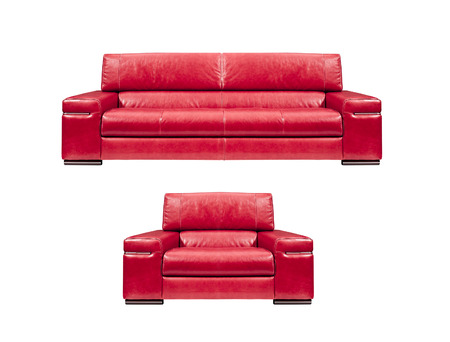 red sofa: red leather sofa with armchair isolated Stock Photo