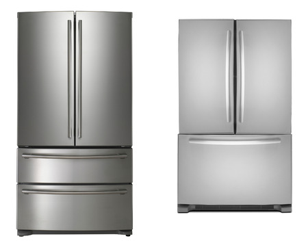 two refrigerators isolated photo