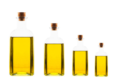 different size bottles with olive oil photo