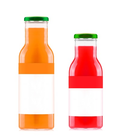 Orange and strawberry juices in glass bottles photo