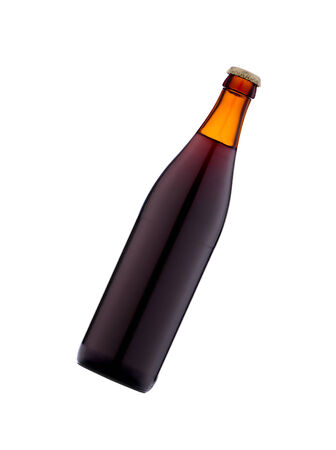 dewed: Bottle of beer on white background. Stock Photo