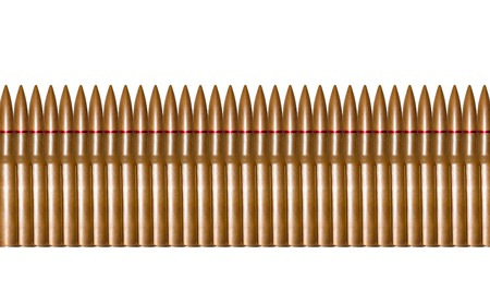 Rifle bullets in a row isolated photo