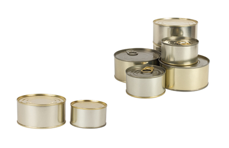hermetic: Tin cans isolated on white Stock Photo