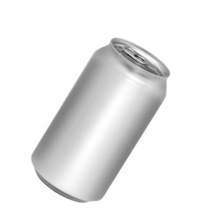 Blank aluminum soda can isolated on white background Banco de Imagens