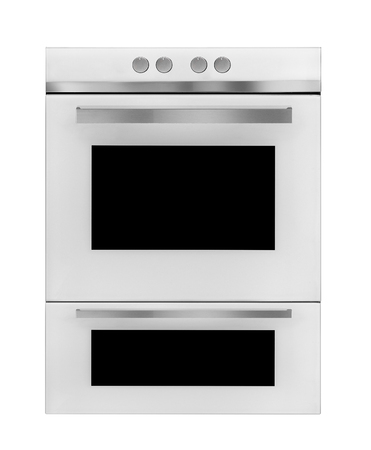 Modern gas cooker on white background