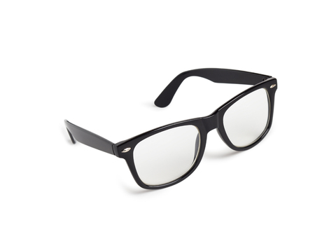 vision repair: Photo of black nerd glasses isolated on white