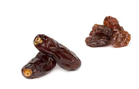 dryed dates on white background Stock Photo