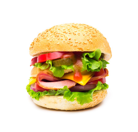 cheeseburger isolated on white photo