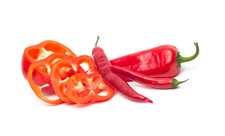 bell peper: Chili and bulgarina pepper isolated on white background Stock Photo