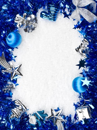 Christmas blue and silver frame photo