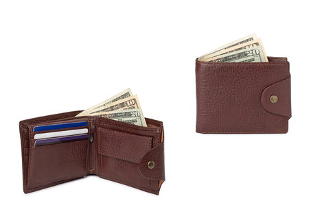 empty wallet: brown leather wallets with money isolated on white