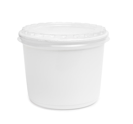 marge: Plastic rectangular container for dairy foods. Isolated on a white.