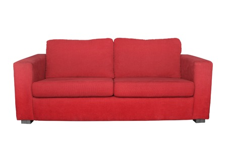 red sofa: red sofa isolated on white background
