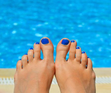 waterpool: girl relaxing near waterpool
