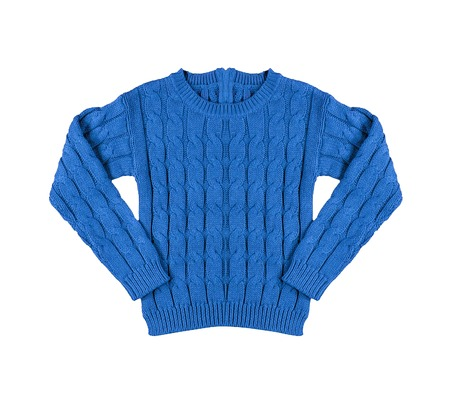 Blue warm knitted sweater with a pattern photo