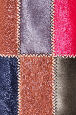 maroon leather: collection of skin textures. Stock Photo
