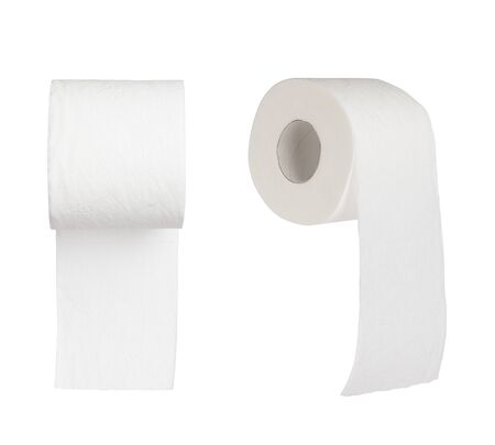 cleanse: two toilet papers on white background Stock Photo