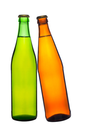two bottle of beer isolated on white background photo