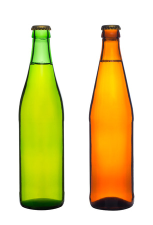 two bottles with beer isolated on white background photo