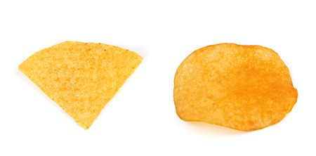 nacho: Nacho chips with potato chips  isolated
