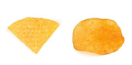 nacho: Nacho chips with potato chips  isolated