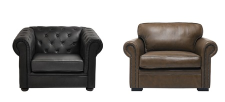 arm chairs: two nice leather arm chairs Stock Photo