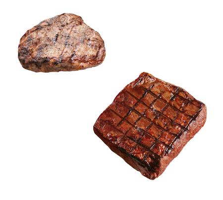 boneless: two grilled boneless rib eye steaks isolated Stock Photo