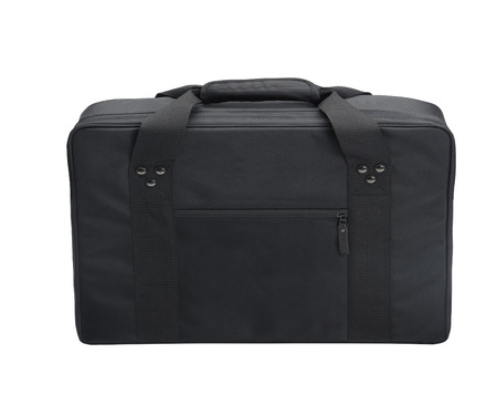 overnight: black canvas messenger or laptop bag isolated