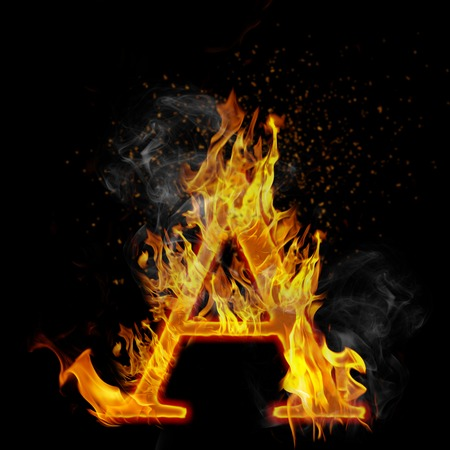 A as a fire letter isolated on a black photo
