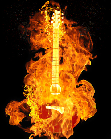 Burning electric guitar on black background isolated photo