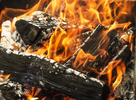 smother: close up of the aflame wood in bonfire.