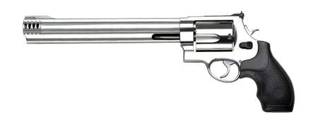 six shooter: Old revolver on white background Stock Photo