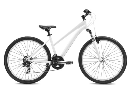 shocks: New bicycle isolated on a white background Stock Photo