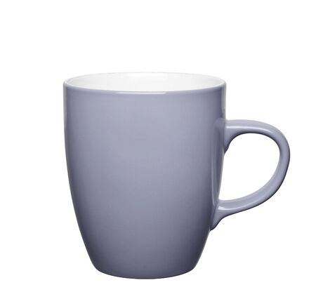 mug of coffee: grey cup on white background