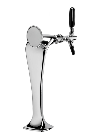 beer in bar: beer tap isolated on a white background in the closeup