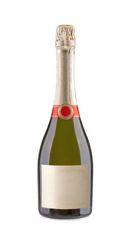 champagnefles geïsoleerd op een witte achtergrond