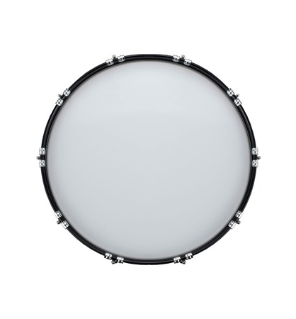 bass drum: bass drum isolated on white in the closeup Stock Photo