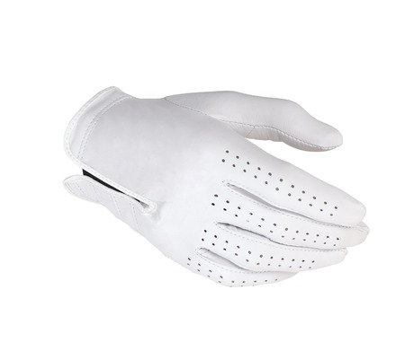 White leather gloves isolated on the white photo