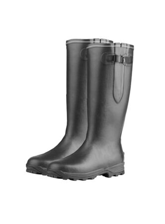 rubber boots: Rubber Boots on White Background Stock Photo