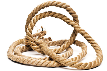 slipped: ship rope and knot isolated on white background Stock Photo