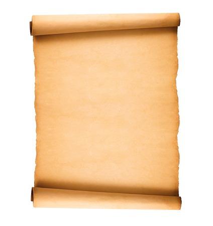 gescrold oud papier op een witte achtergrond