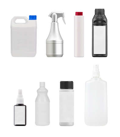 cosmetics products: White plastic containers