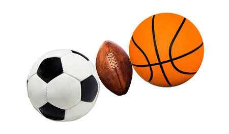 sports balls: A group of sports balls on a white Stock Photo
