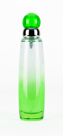 parfume: green parfume bottle isolated