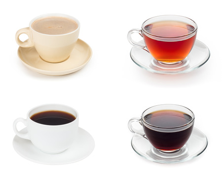 black and white image: various tea with coffee Stock Photo