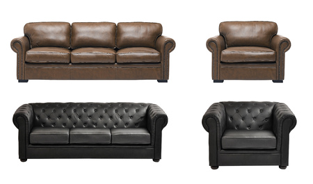 arredamento classico: divano in pelle bella e lusso con poltrona